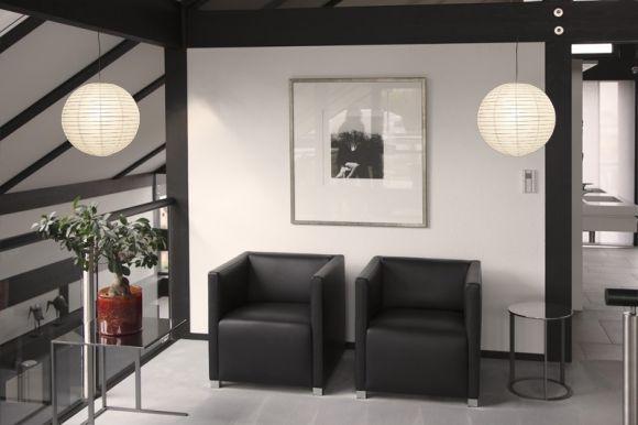 Leuchtenpendel, Aufhängung grau, Japankugel Weiß, 3 Größen
