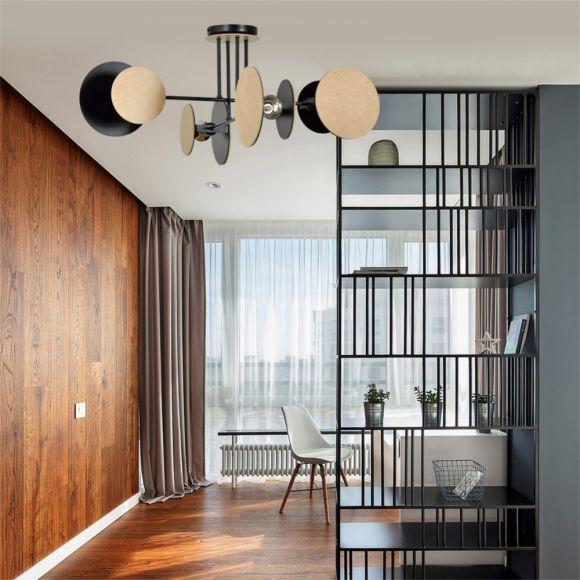LHG Holz-Scheiben Deckenleuchte rund schwarz holz, inkl. 4x LED E27 7W