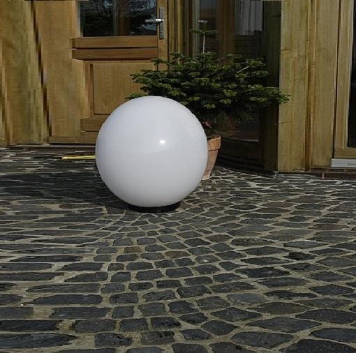 LHG Kugelleuchte 40cm für Außen ohne Stromkabel, Garten Kugellampe aus weißem Kunststoff, IP44 Outdoor geeignet, E27 Fassung