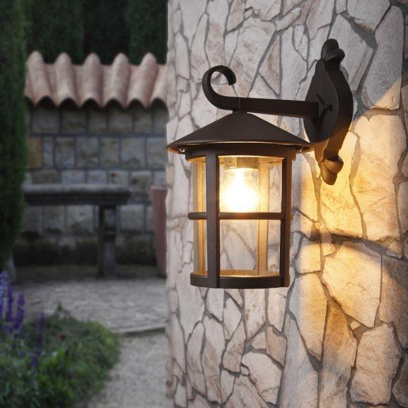 LHG Runde Außenwandleuchte rost-braun, klassisch, rustikal, landhausstil, aus Aluminium, IP44, E27, Außen-Laterne für den Hauseingang, robust