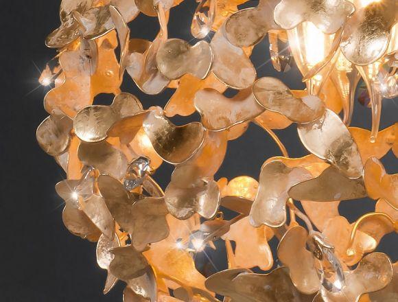 Luxuriöse Pendelleuchte - Blattgold -  Weiß patiniert- Eingefasste Kristalle - Für Leuchtmittel  E27 60W