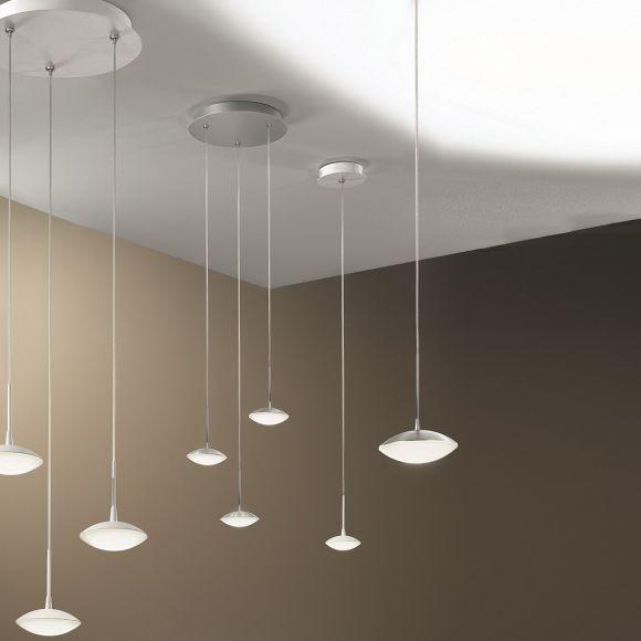 Moderne LED-Pendelleuchte - 3-flg - Alu-gebürstet oder Weiß