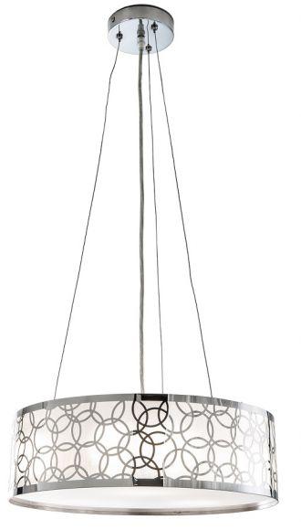 Moderne Pendelleuchte aus Kunstoff mit Chromapplikationen - Für Leuchtmittel 3 x E27 maximal 42 Watt