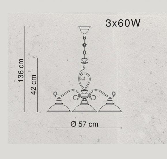 LHG Pendelleuchte in Altmessing, 3 flammig, Glas in Amber,  inklusive Leuchtmittel 3x E27 60Watt