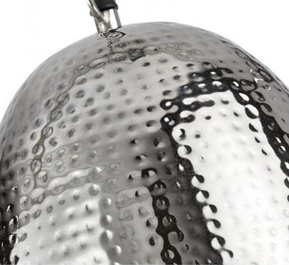 Pendelleuchte aus gehämmerten Metall in Nickel, 35 cm