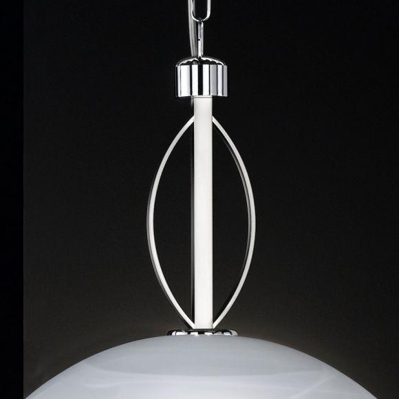 Pendelleuchte in Nickel-matt/Chrom, mit Alabasterglas Ø46cm - inklusive Leuchtmittel 1x E27 60W