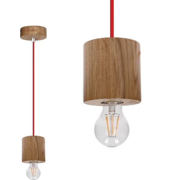 pendelleuchte trongo aus holz eiche ge lt zylinder kabel rot rot wohnlicht. Black Bedroom Furniture Sets. Home Design Ideas
