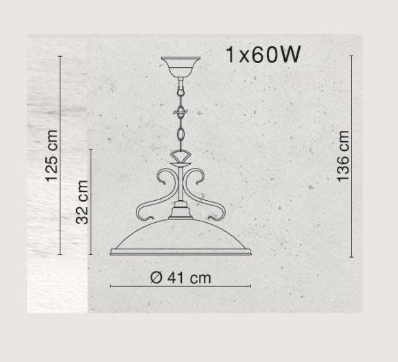 LHG Pendelleuchte  in Altmessing, mit Glasschirm in Amber,  inklusive Leuchtmittel E27 60Watt