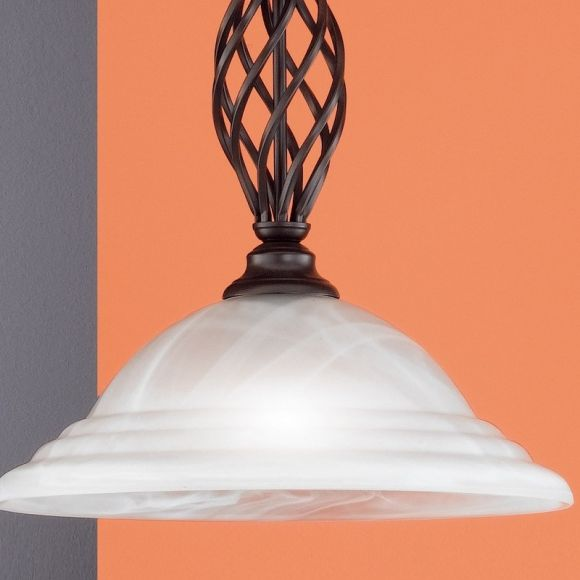 Pendelleuchte, rost antik, Landhausstil, Alabasterglas weiß, 1-flammig