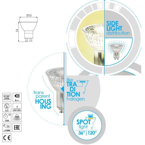 QPAR51 LED GU10 3,3=27W klar 2700K 230V 275lm nicht dimmbar