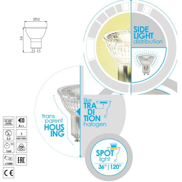 QPAR51 LED Leuchtmittel GU10 3,3=27W klar 2700K 230V 275lm nicht dimmbar, Lampe