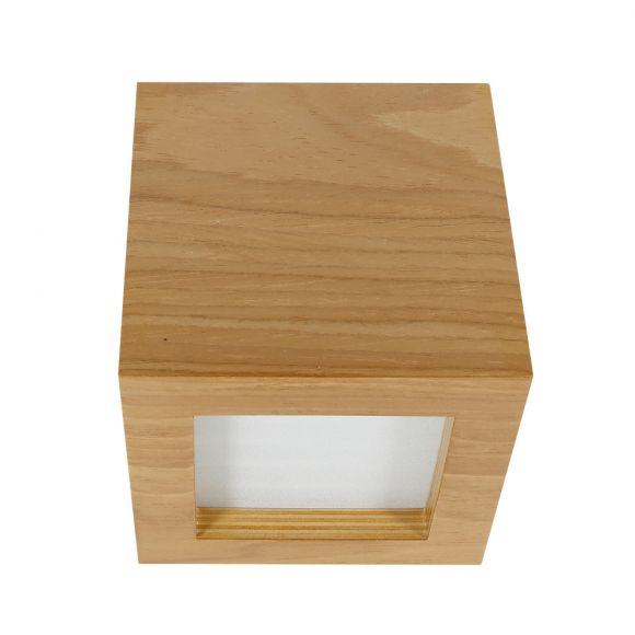 Quadratische Holzoptik Wandleuchte Furnier Nussbaum  Wandlampe Up & Downlight E27 12cm 640Lumen Würfel