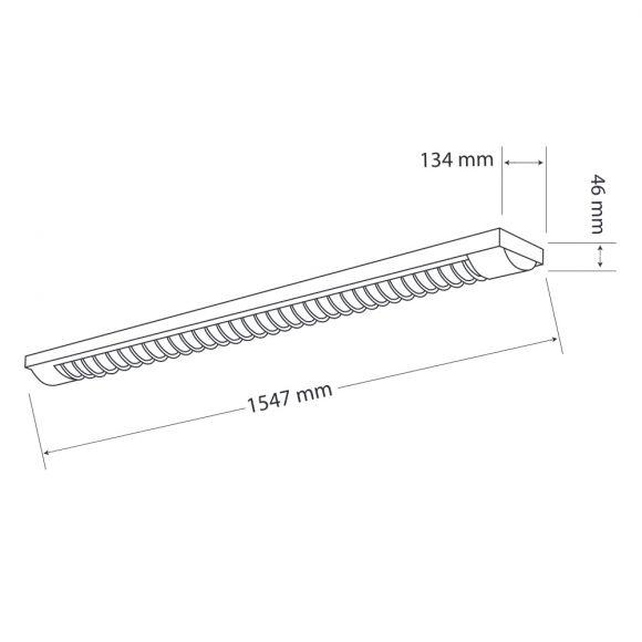 Rasterleuchte in weiß - 2x58 Watt Röhre
