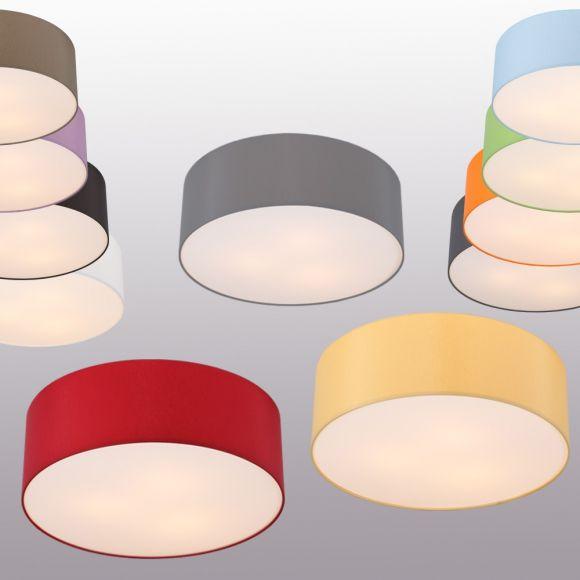 Runde Deckenleuchte, Schirm aus Chintz-Stoff, 10 Farben, Ø 52 cm