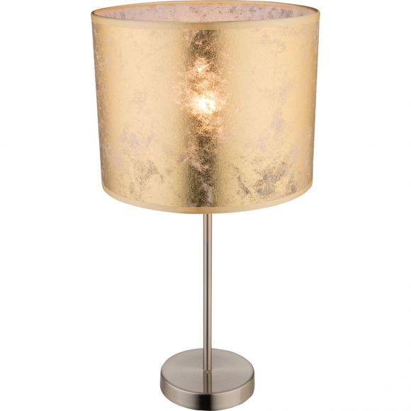 runde E27 Tischleuchte aus Stoff matt Sockel und Schirm Höhe 20 cm Tischlampe gold mit Schalter ø 26