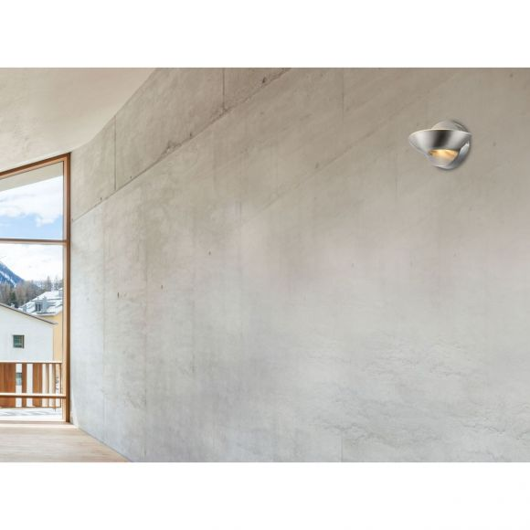 runde LED Up- and Downlight Wandleuchte aus Glas matt Wandlampe nickel