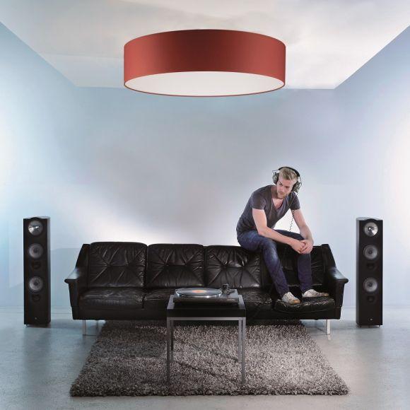 Runder Lampenschirm - Chintz Stoff rot - Durchmesser 75 cm