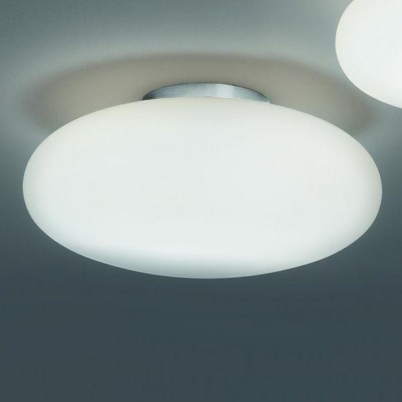Schlichte LED-Deckenleuchte mit Opalglas weiß - Nickel matt - in 2 Größen