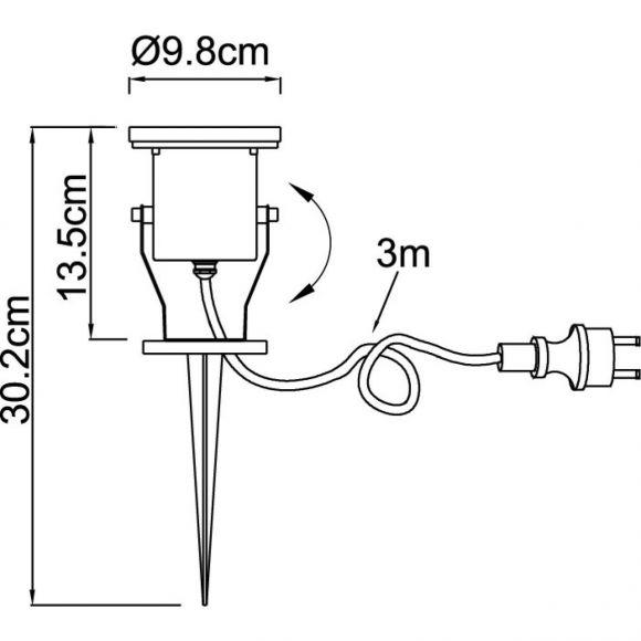 schwenkbarer Außenstrahler mit Erdspieß aus Edelstahl Glas klar Außenleuchte beweglich mit 3m Kabel ø 9.8 cm IP65