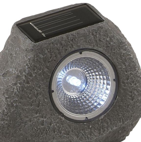 Solar-Steinleuchte mit LED-Lichttechnik - inklusive  LED-Taschenlampe