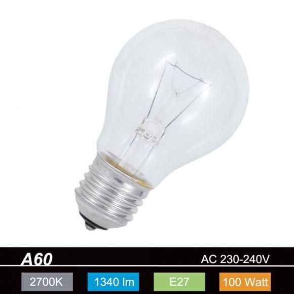 Standardglühlampe, normal Glühbirne E27 klar,100 Watt