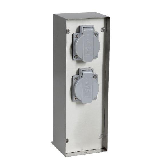 Steckdosensäule mit Flachdach aus Edelstahl mit 2 Schukosteckdosen  IP44 spritzwassergeschützt - Höhe 26,5 cm