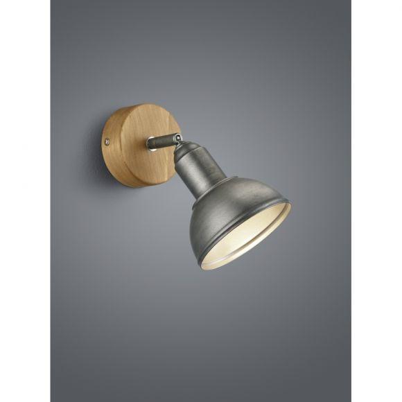 Strahler, 1-flammig, Industrie-Style, grau, verstellbar, LED geeignet