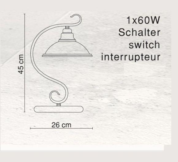 LHG Tischleuchte in Altmessing mit Glasschirm in Amber, inklusive E27 60Watt