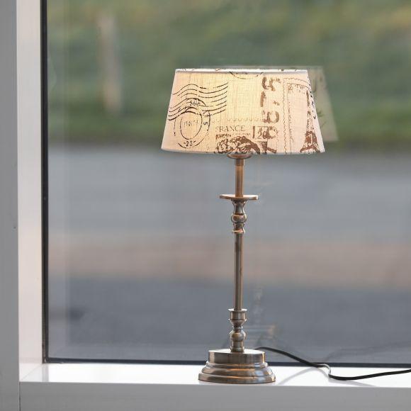 Tischleuchte Erno mit Lampenschirm aus Leinen