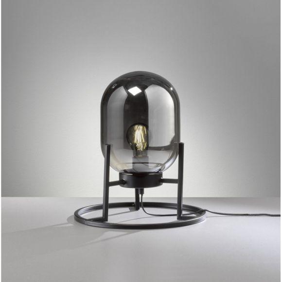 Tischleuchte Loft Rauchglas1-flammig, E27 wechselbar, max. 40 W, Schnurschalter, oval, Metallständer