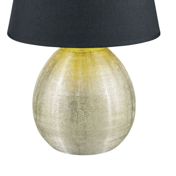 Tischleuchte Luxor Vase Gold, Schirm Schwarz, H 35cm