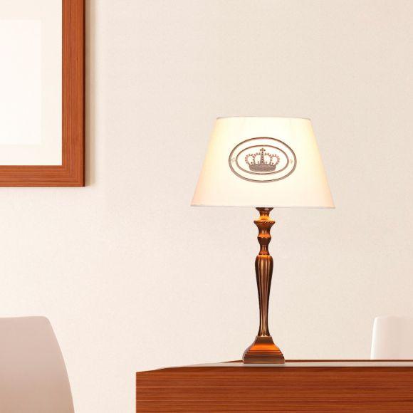 Tischleuchte mit bronzefarbigem Fuß und edlem Stoffschirm