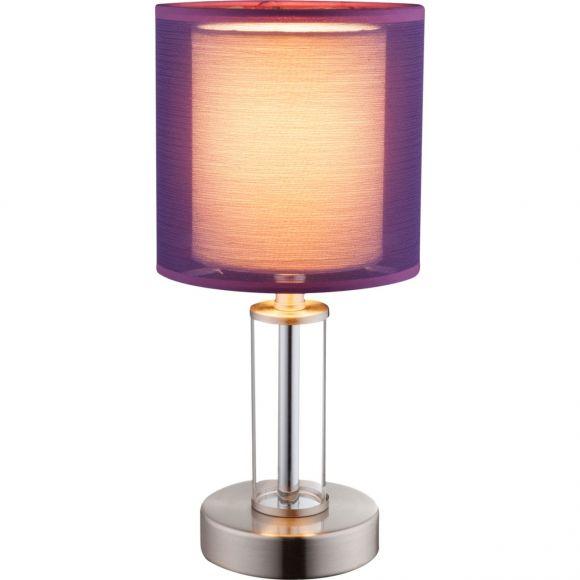 Tischleuchte, klein, Schirm farbig, Schnurschalter, LED einsetzbar