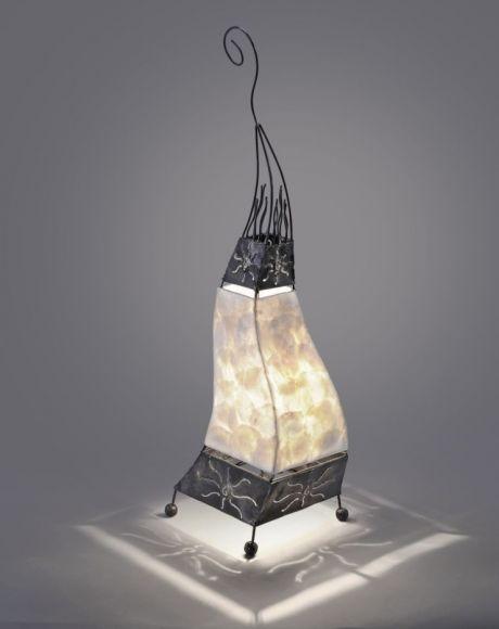 Tischleuchte, Stoff, Perlmutt, Afrika Look, für LED Leuchtmittel