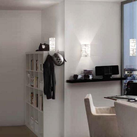 Tischleuchte, weißes Dekorglas mit  geometrischem Muster, Ø 10,5cm