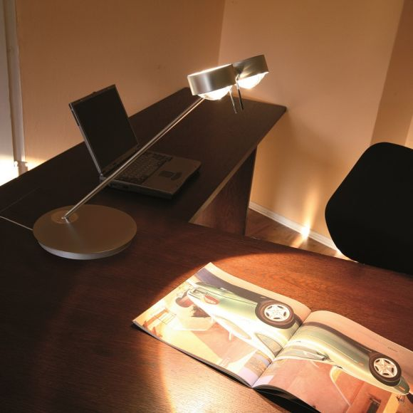 Top Light Tischlampe Puk Table Twin in Nickel-matt, 80 cm Armlänge
