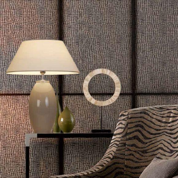 Vasenleuchte in Trendfarbe grau, Strichlackschirm creme Ø 45cm