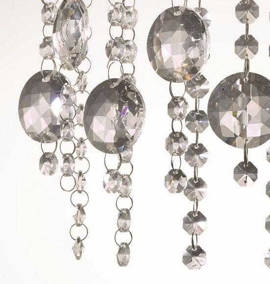 Wandleuchte in Chrom mit geschliffenem Kristallbehang
