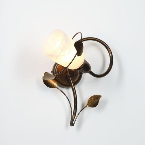LHG Wandleuchte, 1-flammig, florentiner Stil, Landhaus, Glas weiß