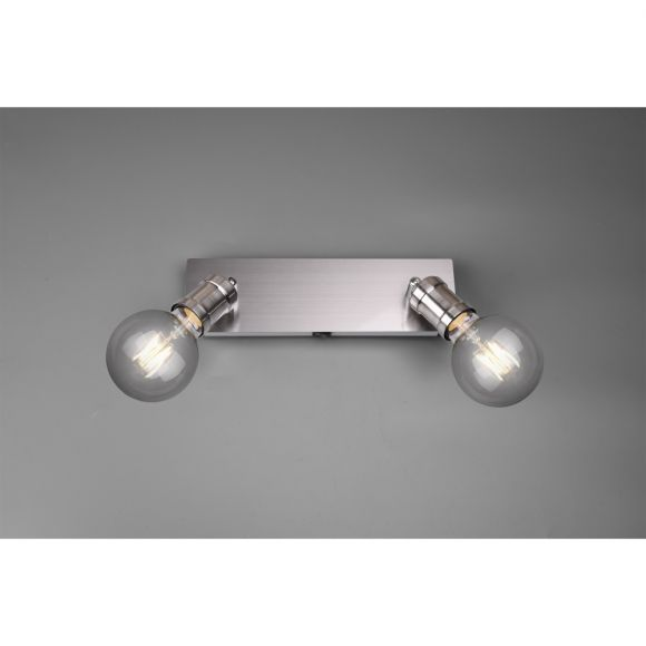 Wandleuchte, Nickel-matt, verstellbar, E14 LED geeignet, 2-flammig
