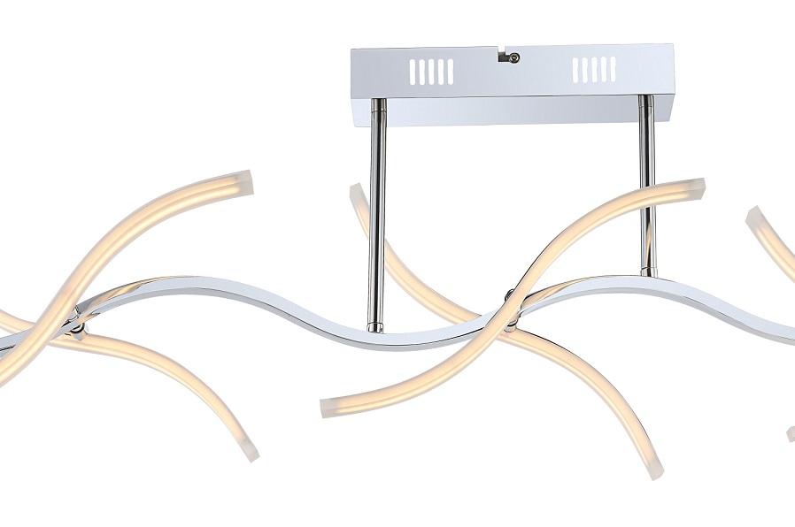LHG Deckenleuchte , Chrom und Glas, bewegliche Elemente, inklusive 6 x 5Watt LED in warmweiß  - inklusive Ersatzleuchtmittel