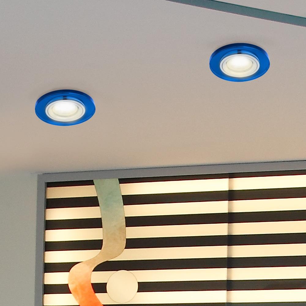 LHG Einbaustrahler rund mit Glas blau, dimmbar, 5er-Set LED GU10 5,5W