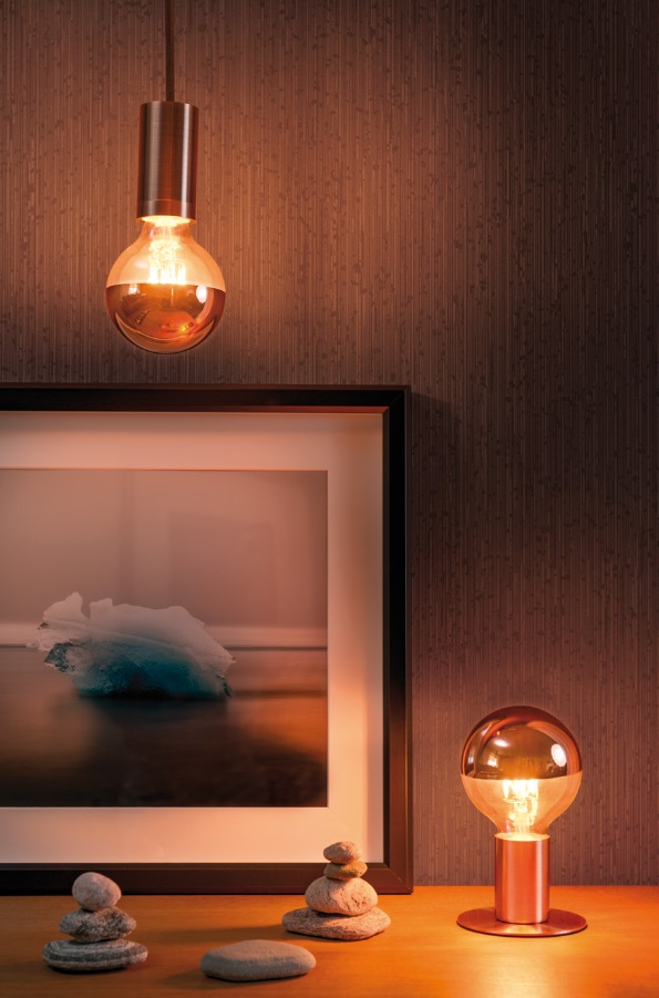 G95 LED  kupfer Kopfspiegel  Filament Globe95 E27 7,5W 2700K