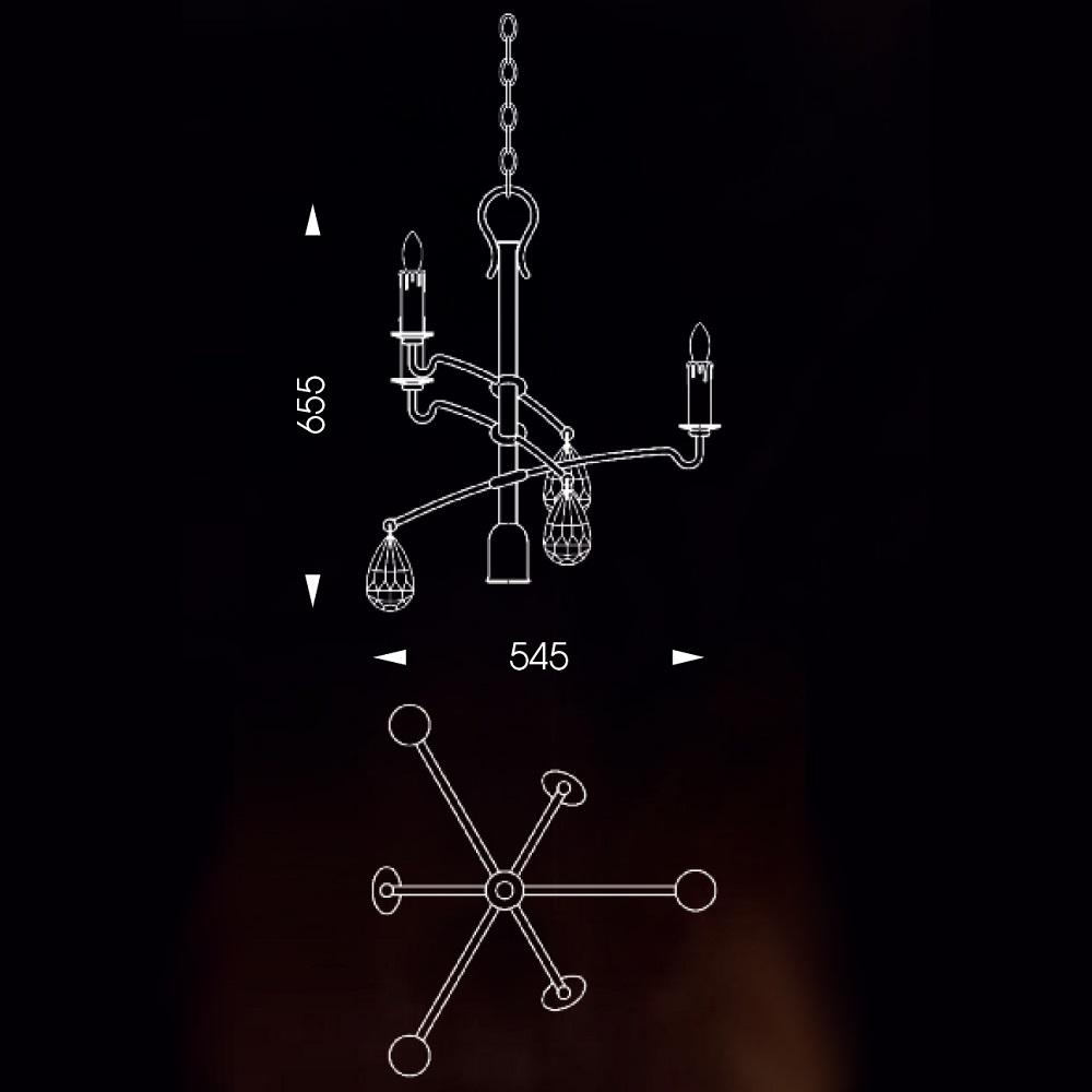 Hängeleuchte old copper mit Bergkristall, für 3x E14 + 1x GU10