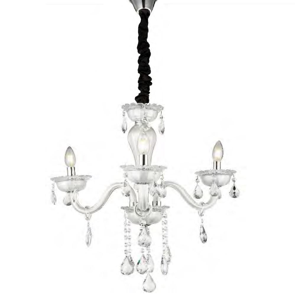Kleiner Lüster aus Glas und Kristallbehang, 3-flammig