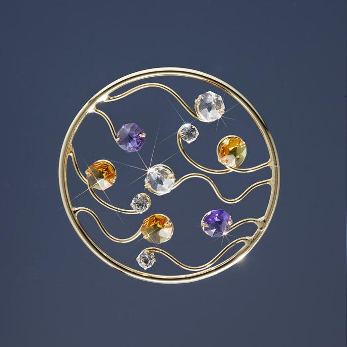 Kristall-Deckenleuchte Solaris von Kolarz® in 24-Karat Gold Ø 11cm und 1 Ersatzleuchtmittel