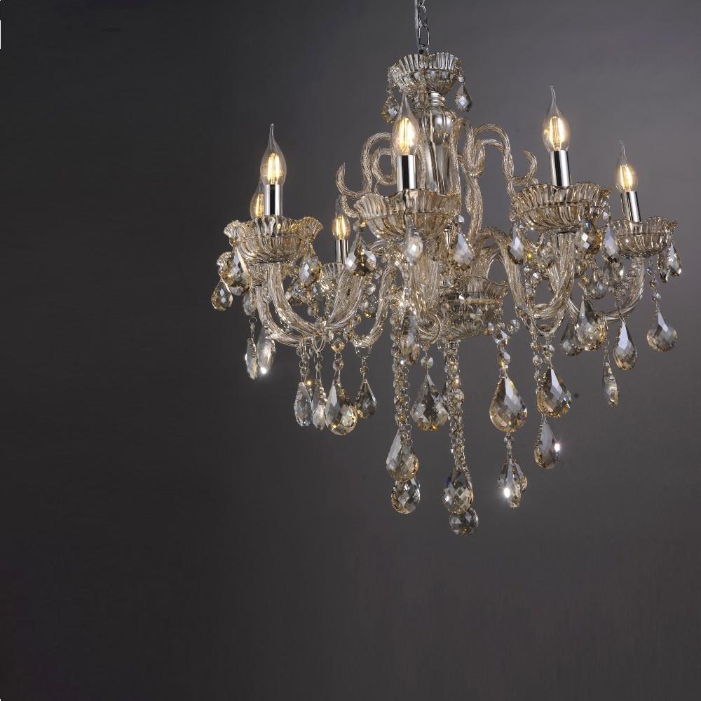 Kronleuchter, champagner o. transparent, 8-flammig