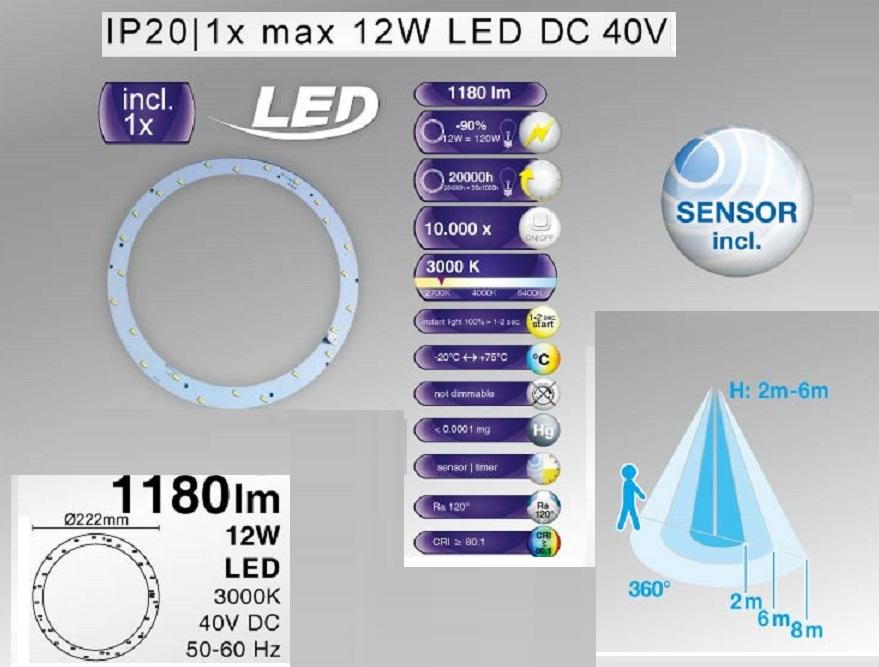 LHG LED Deckenleuchte mit Sensor  Ø 30,8cm - 1x12Watt LED