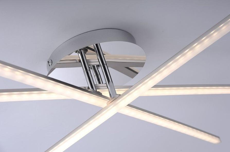 LED Deckenleuchte, chrom,  schwenkbar, warmweiß, modern, Design