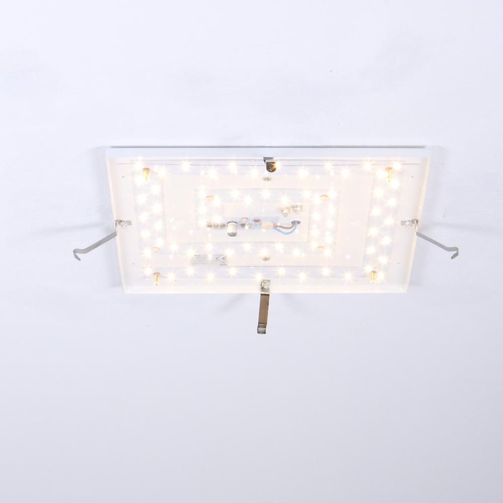 LED Deckenleuchte, Glas eckig, 31 x 31 cm, inkl. 24W LED warmweiß